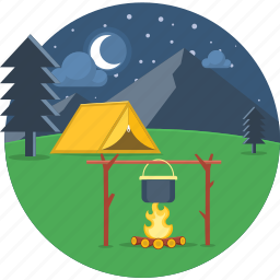 camping, cooking, fire, food, night, picnic, tent icon