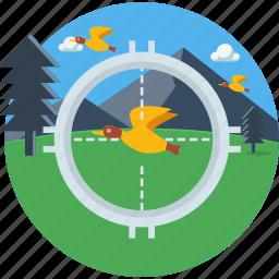 bird, focus, hunt, hunting, shoot, sparrow, target icon