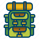 adventure, backpack, bag, camper, equipment, hiking, trekking icon