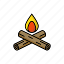 bonfire, camping, fire, forest, hot, red, wood icon