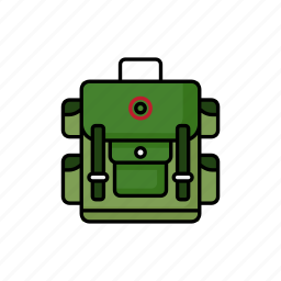 backpack, bag, camping, green, rucksack, tourist, travel icon