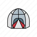 adventure, bag, camp, night, sleeping, tent, travel icon