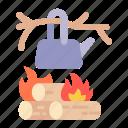 campfire, bonfire, burn, camping, hot, flame, nature icon
