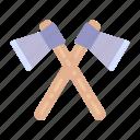 lumberjack, construction, and, tools, hatchet, woodcutter, firefightingaxes icon