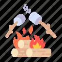 marshmallows, campfire, bonfire, flame, camping, hot, burn icon