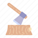wood, axe, camping, logging, log, travel, construction icon
