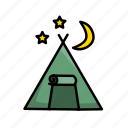 camping, hiking, outdoors, tent icon