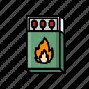 matchbook, matchbox, matches, matchsticks