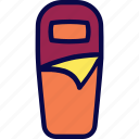 bag, camping, scout, sleep, sleeping bag icon