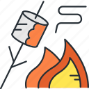 camping, fire, marshmallows icon