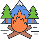 camping, fire, flame, outdoor icon
