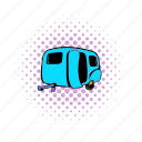 car, comics, mobile, trailer, transport, travel, vehicle icon