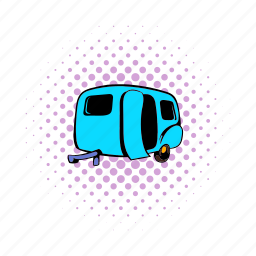 car, comics, mobile, trailer, transport, travel, vehicle icon