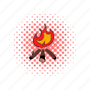 bonfire, campfire, comics, fire, firewood, flame, hot icon