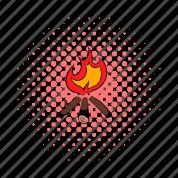 bonfire, campfire, comics, fire, firewood, flame, hot icon