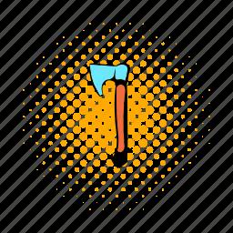 axe, comics, construction, lumberjack, metal, tool, wood icon