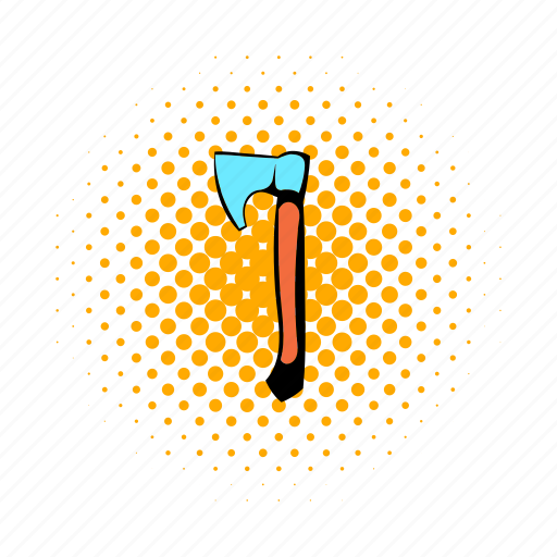 axe, comics, construction, lumberjack, metal, tool, wood icon