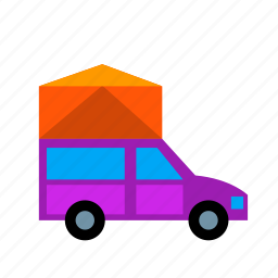 camping, car, holidays, leisure, road, tent, trip icon