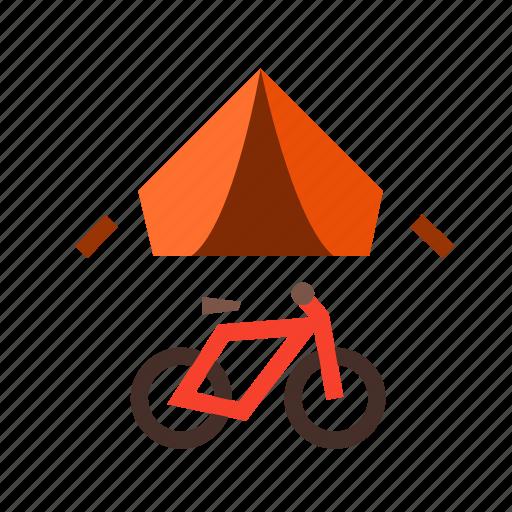 bike, camping, road, tent, tour, travel, trip icon