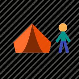 camping, excursion, hiking, tent, tour, travel, trip icon