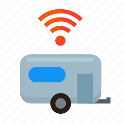 camper, camping, equipped, signal, spot, trailer, wifi icon