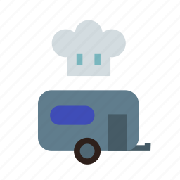 camping, cooking, field, food, kitchen, trailer, truck icon
