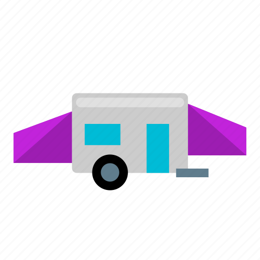 attached, camper, camping, place, tent, trailer, unfolded icon