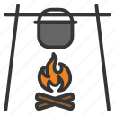 caldron, camping, cooking, fire, food, pot icon