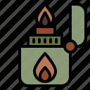 camping, lighter, burn, fire, flame, light