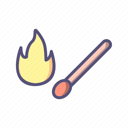 fire, flame, match stick icon