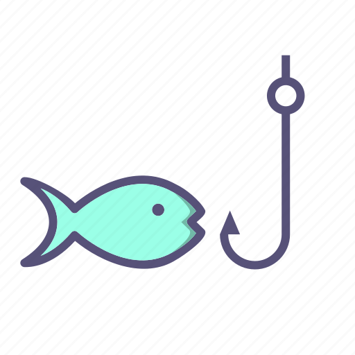 fish, fishing, hook, rod icon
