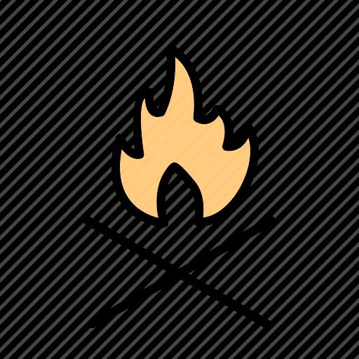 adventure, bone fire, camp fire icon