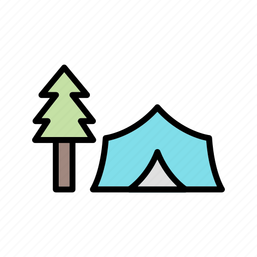 camp, forest, nature, tent icon