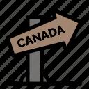 canada, direction, location, sign icon