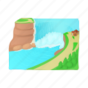cartoon, landscape, mountain, nature, tree, water, waterfall icon