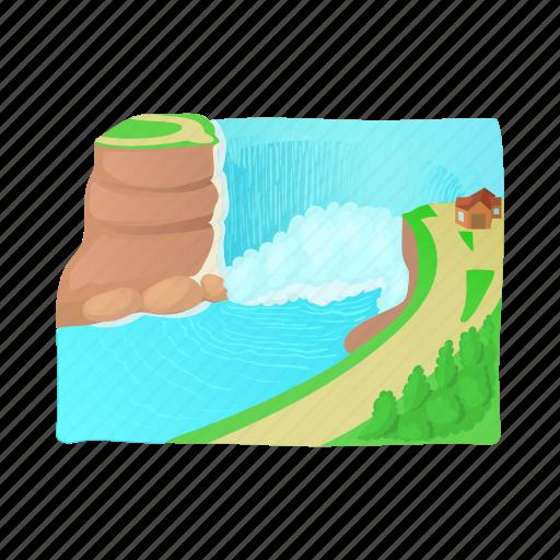cartoon, landscape, mountain, nature, tree, water, waterfall icon