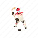 cartoon, equipment, hockey, ice, player, sport, winter icon