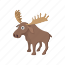 animal, antler, cartoon, deer, mammal, nature, wildlife icon