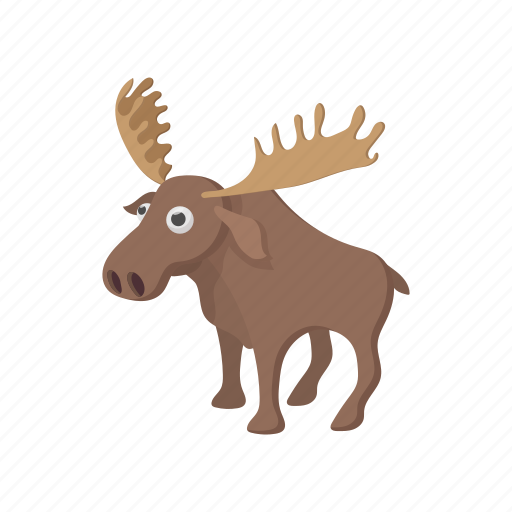 animal, antler, cartoon, deer, mammal, nature, wildlife icon