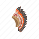 american, cartoon, chief, feather, head, indian, warrior icon