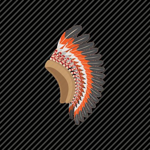 american, cartoon, chief, feather, head, indian, warrior icon