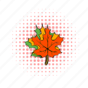 canada, comics, fall, leaf, maple, nature, red icon