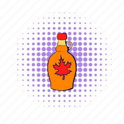 bottle, comics, food, maple, pure, sweet, syrup icon