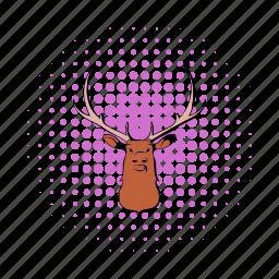 animal, antler, comics, deer, mammal, nature, wildlife icon