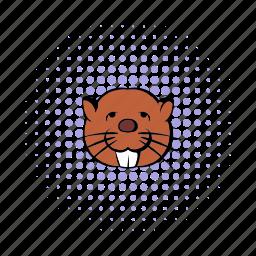 animal, beaver, canada, canadian, comics, fur, wildlife icon