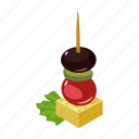 canapes, food, ingredient, meat, sandwich, snack, vegetable icon