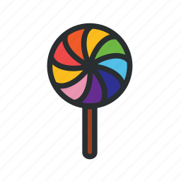 candy, confectionery, lollipop, rainbow lolipop, sweets icon