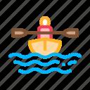 boat, canoeing, man, oar icon