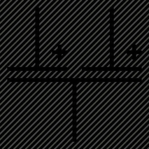 capatitor, component, condenser, electronic, multiple, polarized, split icon