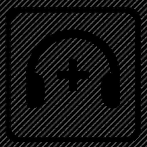 headspeakers, high, music, mute, plus, volume icon